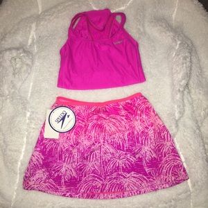 Girls Hot Pink  Speedo Swimsuit and Skirt